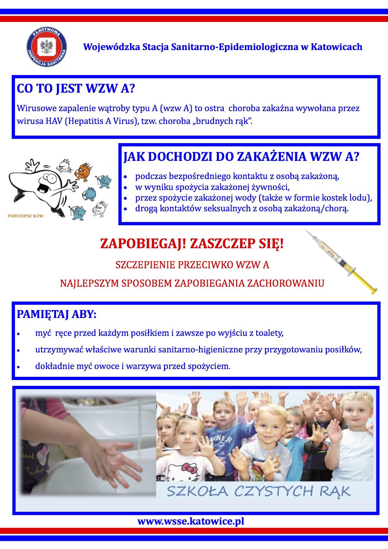 Informacja PPIS w Częstochowie dot. wirusowego zapalenia wątroby typu A