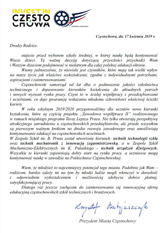 List Pana Prezydenta Krzysztofa Matyjaszczyka