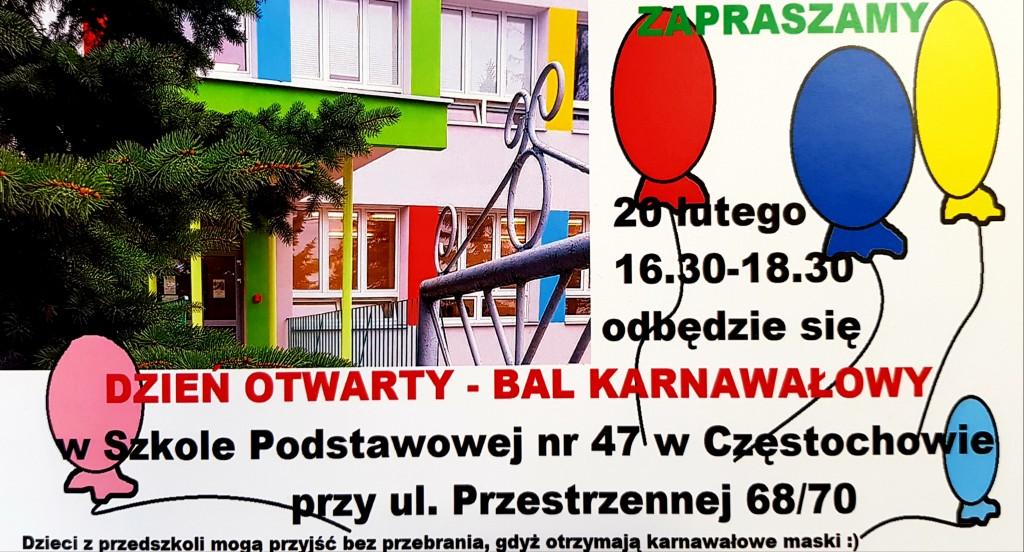 Zaproszenie na Dzień Otwarty – Bal Karnawałowy
