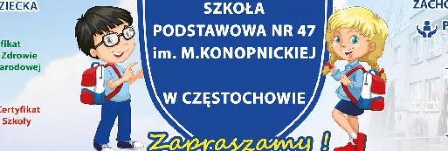 Nabór do klas I Szkoły Podstawowej nr 47 na rok szkolny 2019/2020